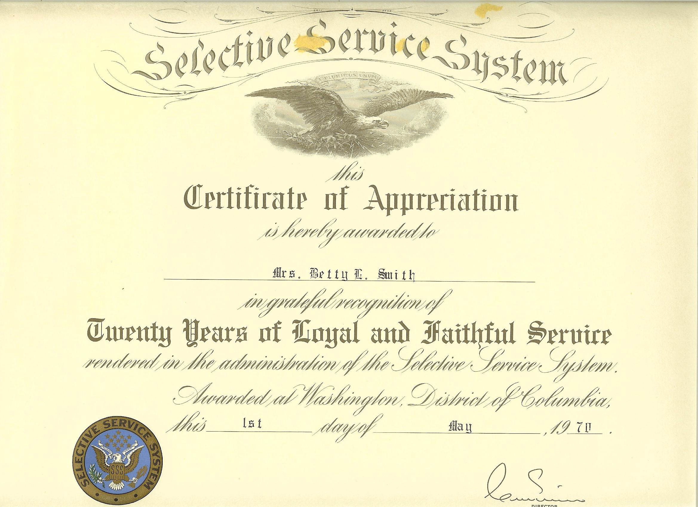 certificate for years of service