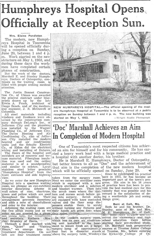 Humphreys Hospital Opens
