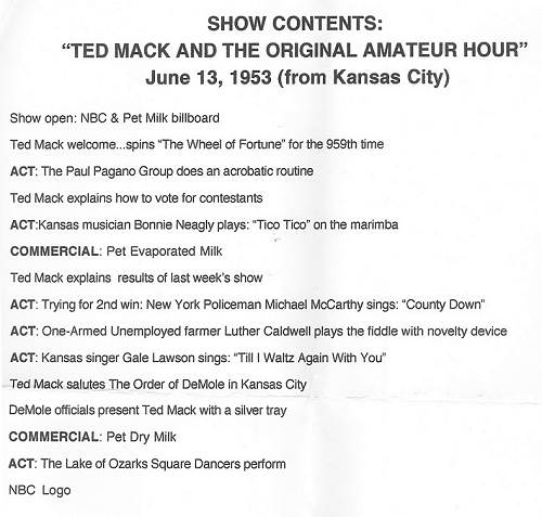14 Ted Mack Amateur Hour Program Contents