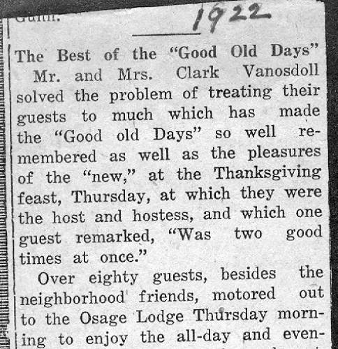 60 Thanksgiving Party - 1922